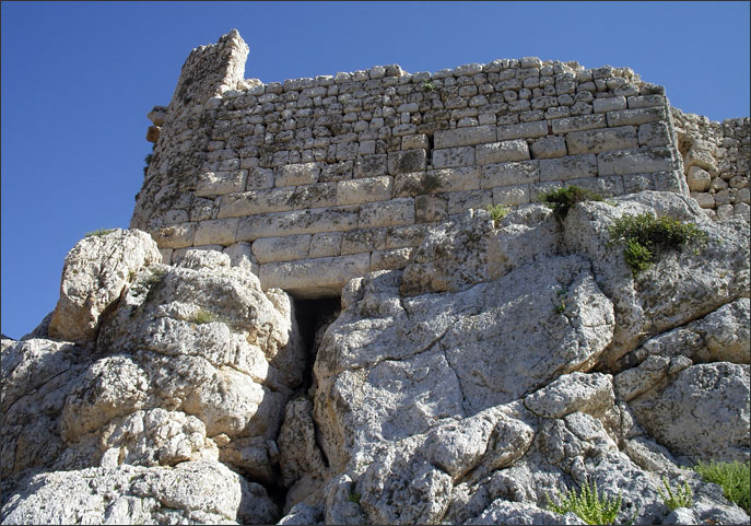 Mediaeval walls built on top of Hellenistic fortifications, Hospitaller castle, Alimnia