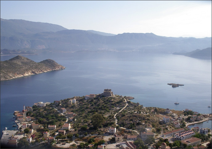 Looking over the Knights' Castle towards Kaş in Turkey
