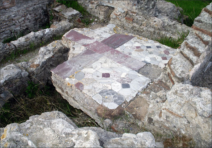Polychrome floor of the Thermae of ancient Cos
